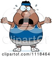 Cartoon Of A Stressed Plump Black Gym Man Royalty Free Vector Clipart