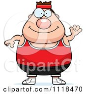 Cartoon Of A Waving Plump Caucasian Gym Man Royalty Free Vector Clipart by Cory Thoman
