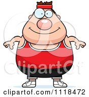 Cartoon Of A Plump Caucasian Gym Man Royalty Free Vector Clipart by Cory Thoman