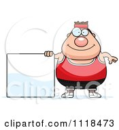 Cartoon Of A Plump Caucasian Gym Man With A Sign Royalty Free Vector Clipart