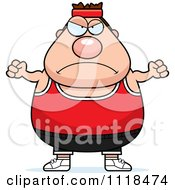 Cartoon Of An Angry Plump Caucasian Gym Man Royalty Free Vector Clipart