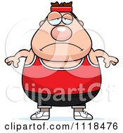 Cartoon Of A Depressed Plump Caucasian Gym Man Royalty Free Vector Clipart