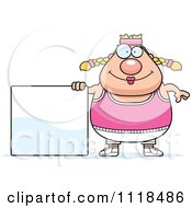Cartoon Of A Plump Caucasian Gym Woman With A Sign Royalty Free Vector Clipart