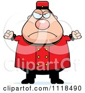 Cartoon Of An Angry Bellhop Worker Royalty Free Vector Clipart