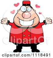Cartoon Of An Amorous Bellhop Worker Royalty Free Vector Clipart