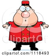 Cartoon Of A Surprised Bellhop Worker Royalty Free Vector Clipart