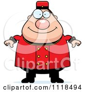Cartoon Of A Happy Bellhop Worker Royalty Free Vector Clipart