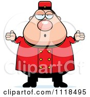 Cartoon Of A Careless Shrugging Bellhop Worker Royalty Free Vector Clipart
