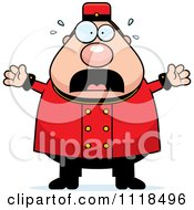 Cartoon Of A Frightened Bellhop Worker Royalty Free Vector Clipart