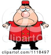 Cartoon Of A Depressed Bellhop Worker Royalty Free Vector Clipart