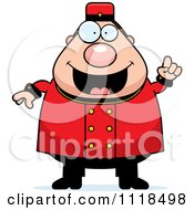 Cartoon Of A Smart Bellhop Worker With An Idea Royalty Free Vector Clipart