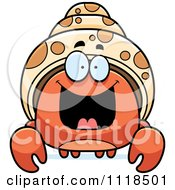 Cartoon Of An Excited Hermit Crab Royalty Free Vector Clipart