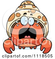Cartoon Of A Frightened Hermit Crab Royalty Free Vector Clipart