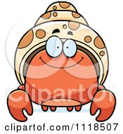 Cartoon Of A Smiling Hermit Crab Royalty Free Vector Clipart