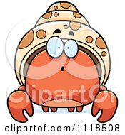 Cartoon Of A Surprised Hermit Crab Royalty Free Vector Clipart