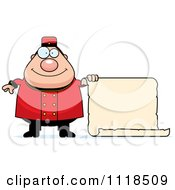 Cartoon Of A Happy Bellhop Worker Holding A Sign Royalty Free Vector Clipart
