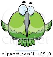 Cartoon Of A Surprised Green Hummingbird Royalty Free Vector Clipart