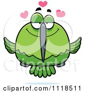 Cartoon Of An Amorous Green Hummingbird Royalty Free Vector Clipart