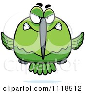 Cartoon Of A Mean Angry Green Hummingbird Royalty Free Vector Clipart