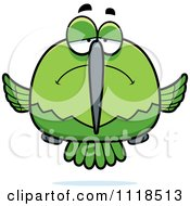 Cartoon Of A Depressed Sad Green Hummingbird Royalty Free Vector Clipart