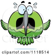 Cartoon Of A Frightened Green Hummingbird Royalty Free Vector Clipart