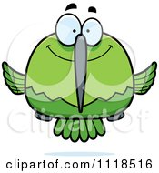 Cartoon Of A Happy Green Hummingbird Royalty Free Vector Clipart