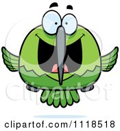 Cartoon Of An Excited Green Hummingbird Royalty Free Vector Clipart