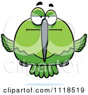 Cartoon Of A Bored Or Skeptical Green Hummingbird Royalty Free Vector Clipart