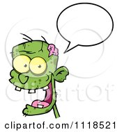Cartoon Of A Happy Green Zombie Head With A Speech Balloon 1 Royalty Free Vector Clipart
