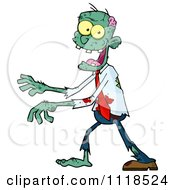 Cartoon Of A Bloody Green Zombie 2 Royalty Free Vector Clipart by Hit Toon