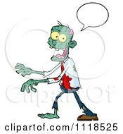 Cartoon Of A Happy Green Zombie With A Speech Balloon 2 Royalty Free Vector Clipart by Hit Toon