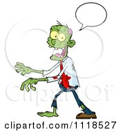 Cartoon Of A Happy Green Zombie With A Speech Balloon Royalty Free Vector Clipart by Hit Toon