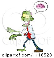 Cartoon Of A Happy Green Zombie With A Brain In A Speech Balloon Royalty Free Vector Clipart by Hit Toon