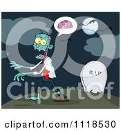 Cartoon Of A Zombie Walking Through A Cemetery 2 Royalty Free Vector Clipart by Hit Toon
