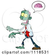 Cartoon Of A Bloody Green Zombie Thinking About Brains Royalty Free Vector Clipart by Hit Toon