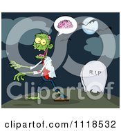 Cartoon Of A Zombie Walking Through A Cemetery 1 Royalty Free Vector Clipart by Hit Toon