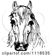 Clipart Of A Retro Vintage Black And White Horse Head 1 Royalty Free Vector Illustration by Prawny Vintage
