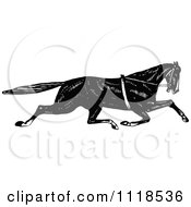 Clipart Of A Retro Vintage Black And White Sprinting Horse Royalty Free Vector Illustration
