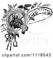Clipart Of A Retro Vintage Black And White Horse Head With A Shoe Whip And Plants Royalty Free Vector Illustration