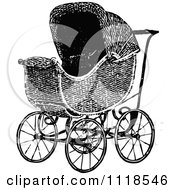 Clipart Of A Retro Vintage Black And White Baby Pram Royalty Free Vector Illustration