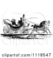Clipart Of A Retro Vintage Black And White Horse Drawn Carriage And Passengers 3 Royalty Free Vector Illustration by Prawny Vintage