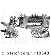 Clipart Of A Retro Vintage Black And White Carriage 1 Royalty Free Vector Illustration by Prawny Vintage