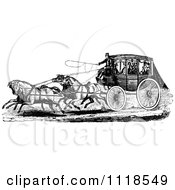 Clipart Of A Retro Vintage Black And White Horse Drawn Carriage And Passengers 1 Royalty Free Vector Illustration by Prawny Vintage