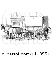 Clipart Of A Retro Vintage Black And White Horse Drawn Covered Wagon Carriage Royalty Free Vector Illustration