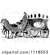Clipart Of A Retro Vintage Black And White Horse Drawn Coach Carriage Royalty Free Vector Illustration by Prawny Vintage #COLLC1118553-0178