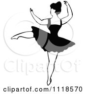 Clipart Of A Retro Vintage Black And White Dancing Ballerina 2 Royalty Free Vector Illustration