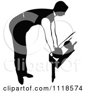 Clipart Of A Retro Vintage Black And White Man Bowling 3 Royalty Free Vector Illustration