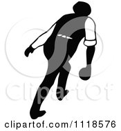 Clipart Of A Retro Vintage Black And White Man Bowling 5 Royalty Free Vector Illustration