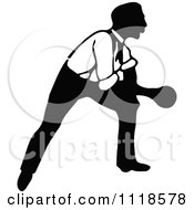 Clipart Of A Retro Vintage Black And White Man Bowling 7 Royalty Free Vector Illustration