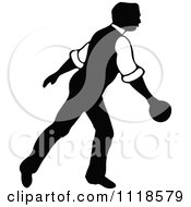 Clipart Of A Retro Vintage Black And White Man Bowling 8 Royalty Free Vector Illustration